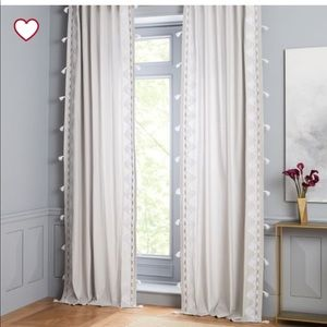 West Elm Embroidered Border Curtain- 108' x 48'